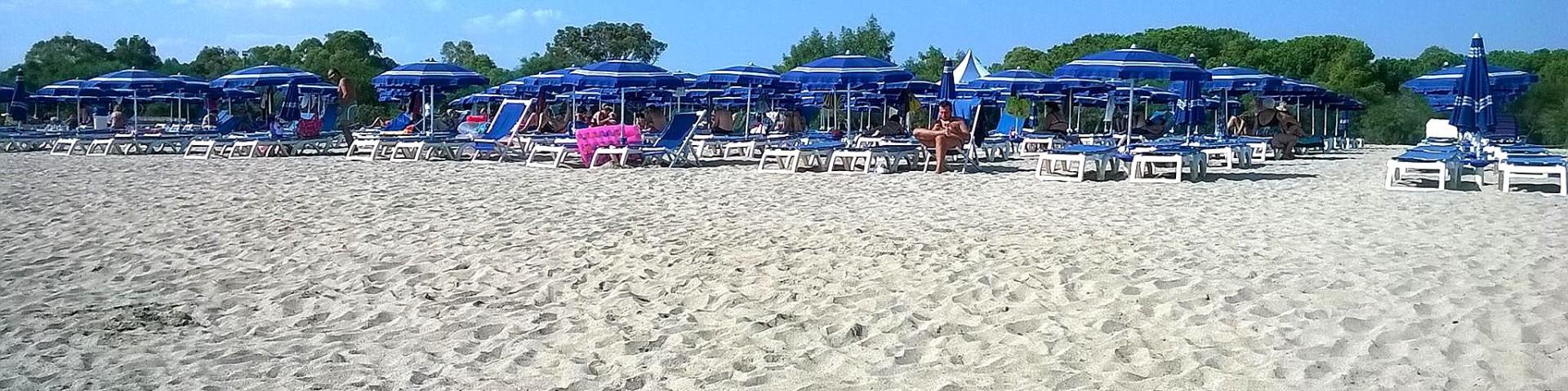Marina di Sibari, podél pláže se táhnou píniové lesíky