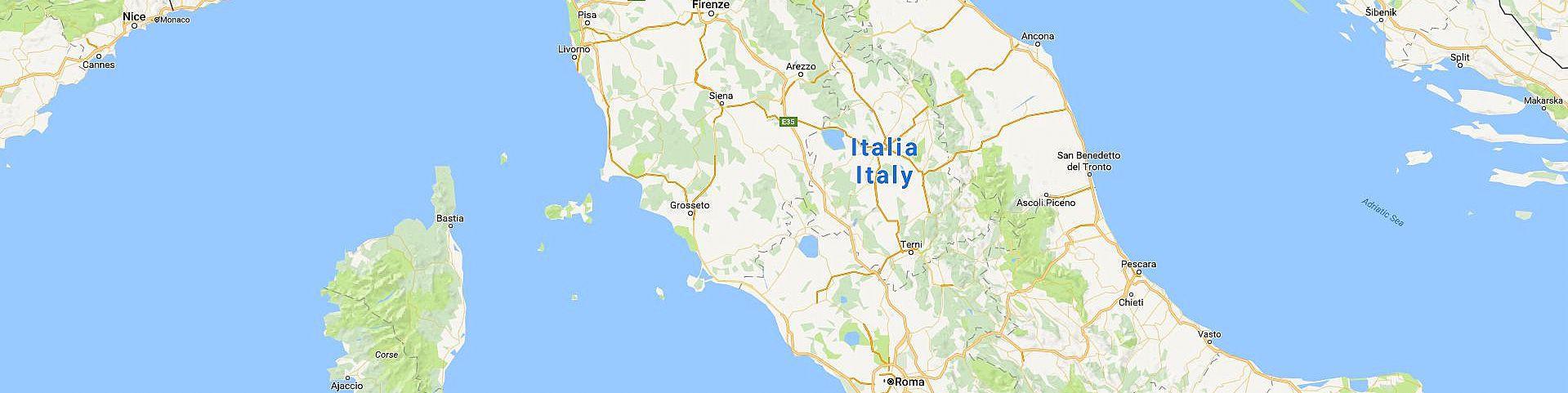 Střední Itálie (zdroj: Google Maps)