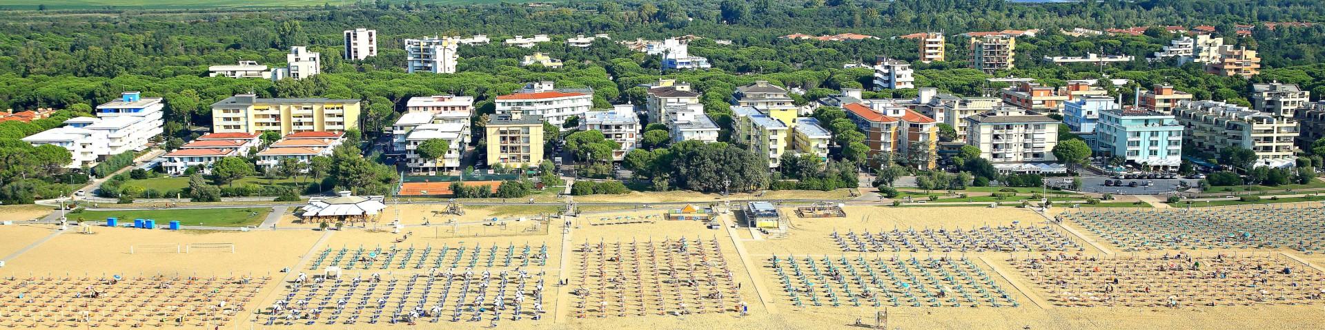 Bibione Lido del Sole, většina ubytování je nedaleko pláže