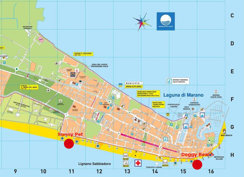 psí pláže v Lignanu