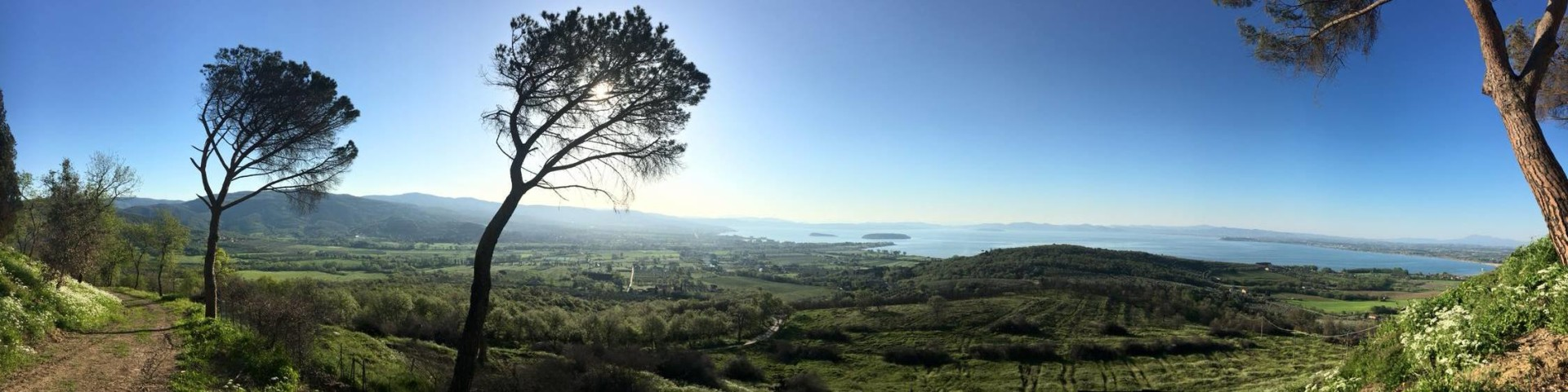 Lago Trasimeno, pohled z kopce Montegualandro